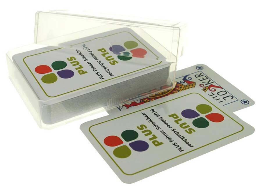 """Speelkaarten met logo """"Plus"""" supermarkt bedrukking"""
